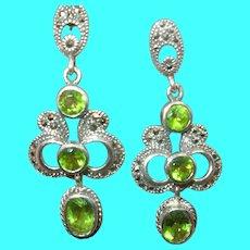 Vintage Sterling Chandelier Earrings Faux Diamond Tourmaline