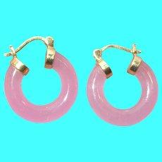 Vintage 14k Hoop Earrings Pink Jade