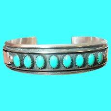 Vintage Sterling Turquoise Cuff Bracelet By M.J