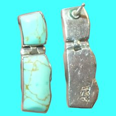 Vintage Sterling Drop Earrings Turquoise