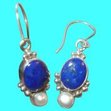 Vintage Sterling Drop Earrings Blue Lapis Fresh Water Pearl