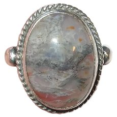 Vintage Sterling Silver Agate Ring