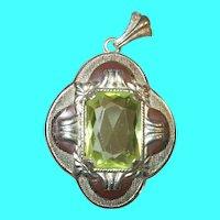 Vintage Enamel Pendant Faux Stone