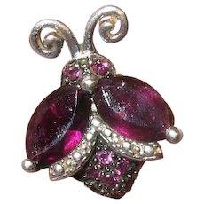 Vintage Sterling Amethyst Ladybug Pendant