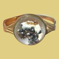 Vintage Reverse Painted Crystal Scarf Ring