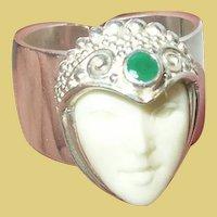 Vintage Sterling Emerald Ring by Sajen