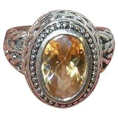 Vintage Sterling Ring Faux Citrine