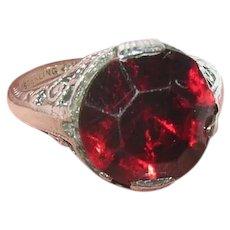 Vintage Sterling Ring Filigree Work Faux Ruby