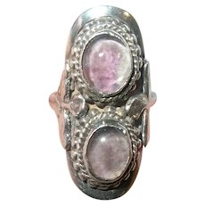 Vintage Sterling Cabochon Amethyst Ring
