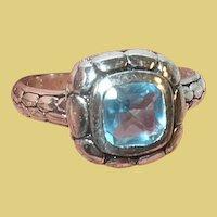Vintage Sterling Ring Faux Blue Topaz