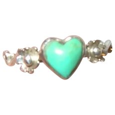 Vintage Sterling Turquoise Heart Ring