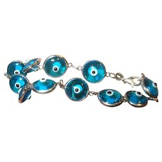Vintage Sterling Glass Eye Bracelet