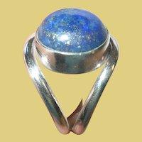 Vintage Sterling Adjustable Ring Blue Lapis