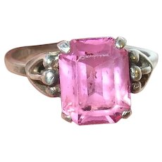 Vintage Sterling Adjustable Ring Pink Stone