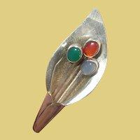 Vintage Sterling Mexico Lily Brooch Semi Precious Stones