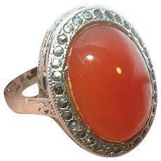 Edwardian Sterling Carnelian Ring