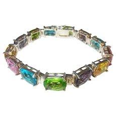 Vintage Sterling Link Bracelet Colored Stones