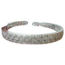 Vintage Sterling Cuff Bracelet Diamonds