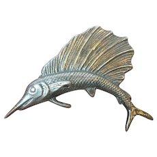 Vintage Sterling Large Brooch Marlin