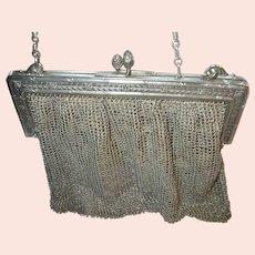 Antique 800 Coin Silver Mesh Handbag