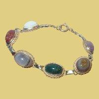 Vintage Sterling Vermeil Scarab Link Bracelet Semi Precious Stones