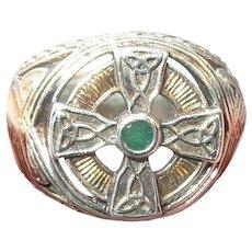 Vintage Sterling Ring Emerald Irish