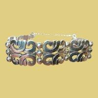 "Vintage Sterling Link Taxco Bracelet By ""MWS"""