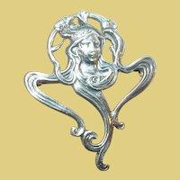 Vintage Sterling Brooch Art Nouveau Style