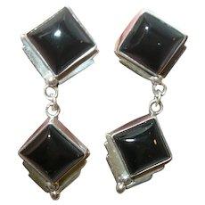 Vintage Sterling Black Onyx Drop Earrings by Richard Begay