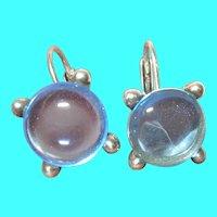 Vintage Sterling Earrings Blue Stone