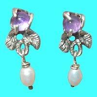 Vintage Sterling Earrings Amethyst Fresh Water Pearl