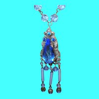 Art Deco Necklace Blue Faceted Glass