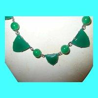 Art Deco Link Necklace Green Glass Links