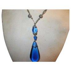 Art Deco Blue Glass Link Necklace