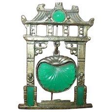 Art Deco Brooch Green Stone