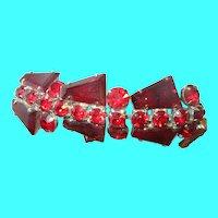 Art Deco Bracelet Red Art Glass