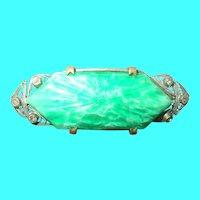 Art Deco Peking Glass Brooch