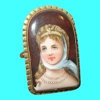 Victorian Hand Painted Gold-filled Portrait Brooch