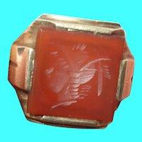 Vintage Intaglio 10K Gold Ring Carnelian