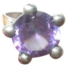 Vintage Sterling Ring Lab Created Alexandrite