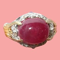 Vintage Sterling Vermeil Ring Ruby
