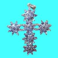Vintage Sterling Cross Pendant Semi Precious Stones