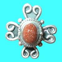 Vintage Sterling Brooch Pendant Gold Stone