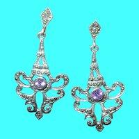Vintage Sterling Drop Earrings Amethyst Marcasite