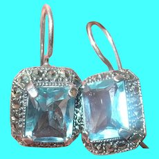Vintage Sterling Earrings Faux Topaz