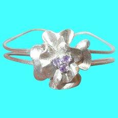 Vintage Sterling Cuff Bracelet Satin Finish Amethyst