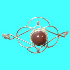 Vintage Sterling Bangle Brown Cabochon Stone