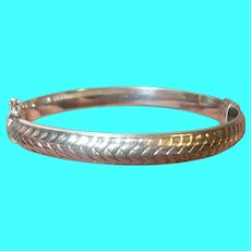 Vintage Sterling Pinched Bangle Raised Design