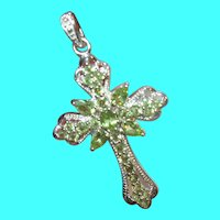Vintage Sterling Cross Pendant Enhancer Tourmaline
