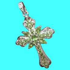 Vintage Sterling Cross Pendant Enhancer Tourmaline